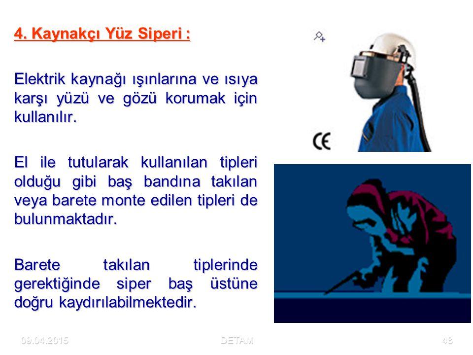 09.04.2015DETAM48 4. Kaynakçı Yüz Siperi : Elektrik kaynağı ışınlarına ve ısıya karşı yüzü ve gözü korumak için kullanılır. El ile tutularak kullanıla