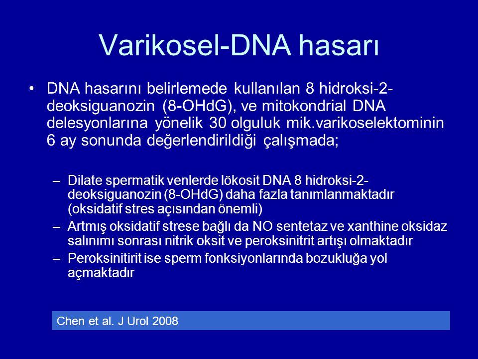 Varikosel-DNA hasarı DNA hasarını belirlemede kullanılan 8 hidroksi-2- deoksiguanozin (8-OHdG), ve mitokondrial DNA delesyonlarına yönelik 30 olguluk
