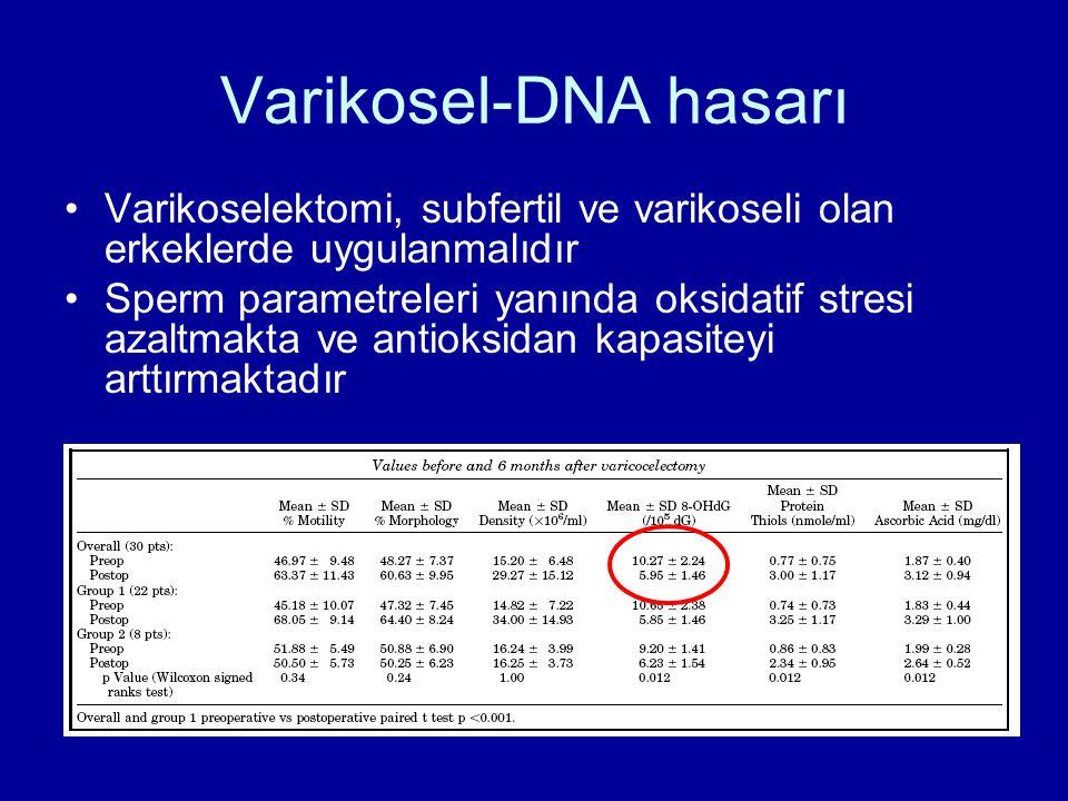 Varikosel-DNA hasarı Varikoselektomi, subfertil ve varikoseli olan erkeklerde uygulanmalıdır Sperm parametreleri yanında oksidatif stresi azaltmakta v