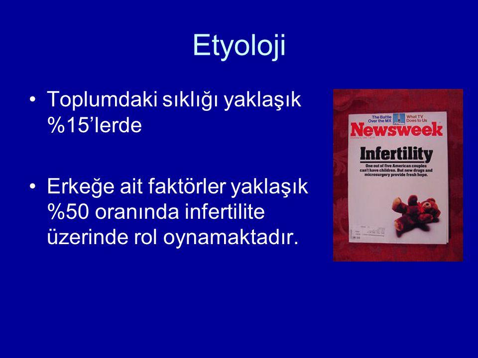 Etyoloji Toplumdaki sıklığı yaklaşık %15'lerde Erkeğe ait faktörler yaklaşık %50 oranında infertilite üzerinde rol oynamaktadır.