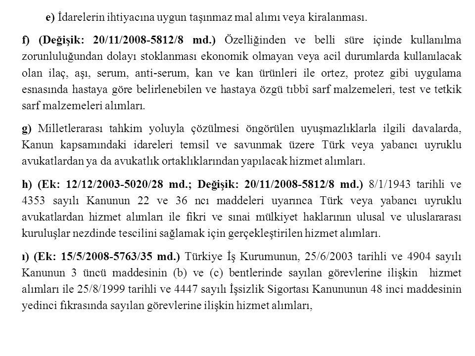 e) İdarelerin ihtiyacına uygun taşınmaz mal alımı veya kiralanması. f) (Değişik: 20/11/2008-5812/8 md.) Özelliğinden ve belli süre içinde kullanılma z