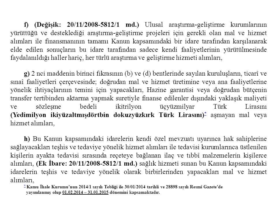 f) (Değişik: 20/11/2008-5812/1 md.) Ulusal araştırma-geliştirme kurumlarının yürüttüğü ve desteklediği araştırma-geliştirme projeleri için gerekli ola