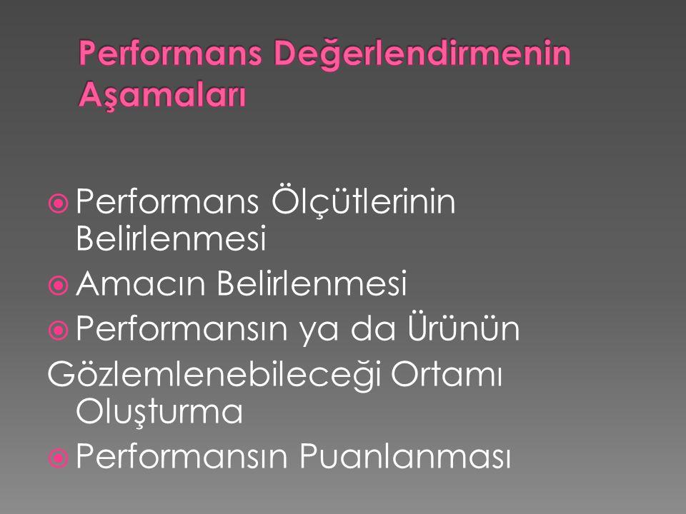  Performans Ölçütlerinin Belirlenmesi  Amacın Belirlenmesi  Performansın ya da Ürünün Gözlemlenebileceği Ortamı Oluşturma  Performansın Puanlanması