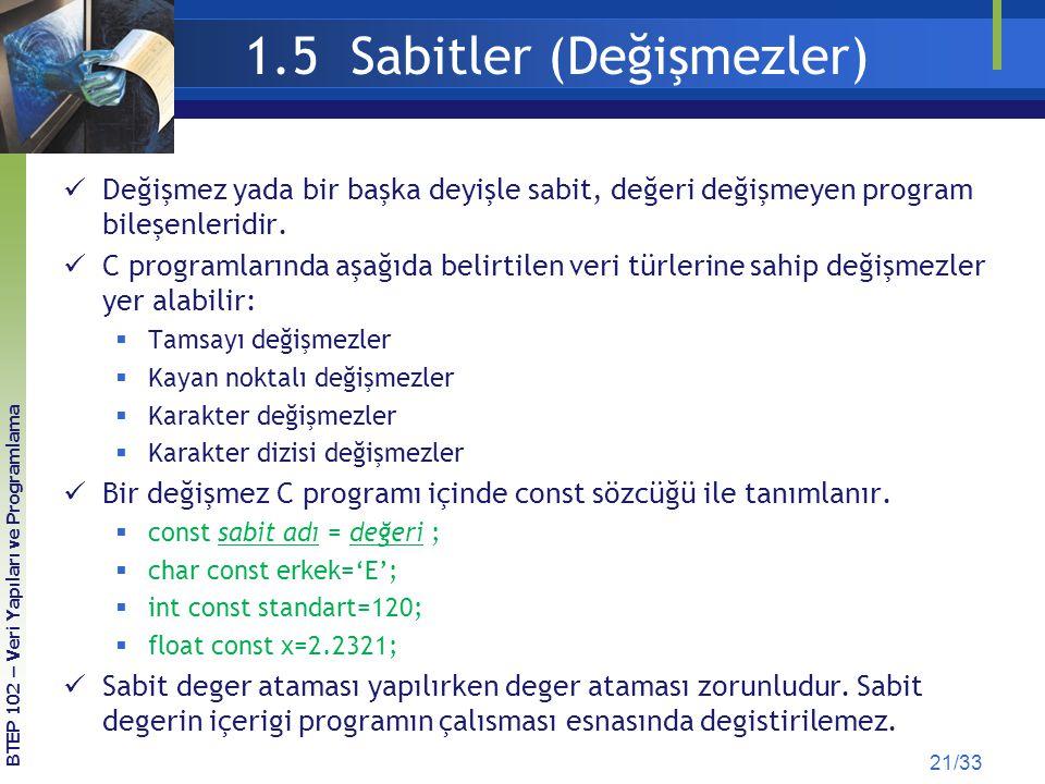 1.5 Sabitler (Değişmezler) Değişmez yada bir başka deyişle sabit, değeri değişmeyen program bileşenleridir.
