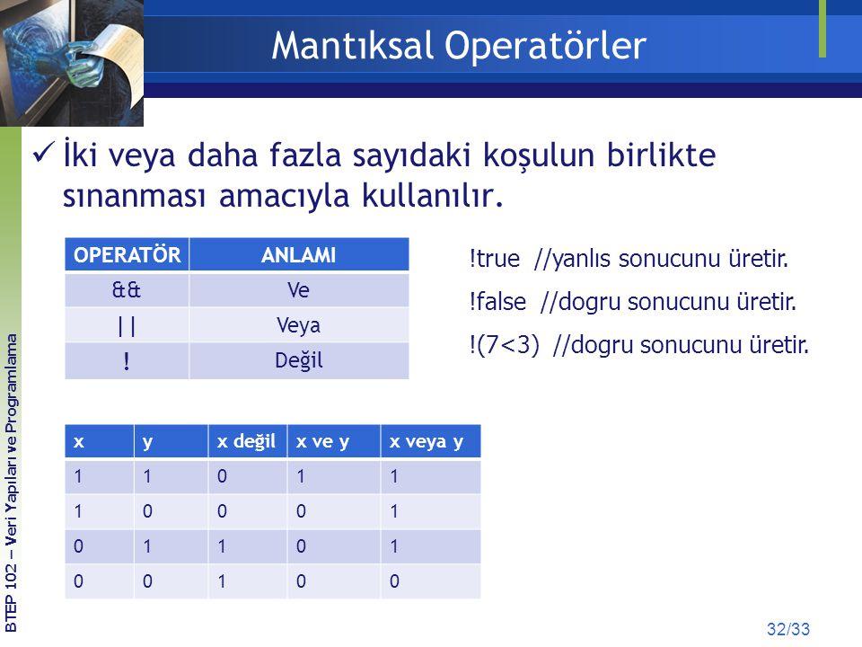 Mantıksal Operatörler İki veya daha fazla sayıdaki koşulun birlikte sınanması amacıyla kullanılır. OPERATÖRANLAMI &&Ve ||Veya ! Değil BTEP 102 – Veri