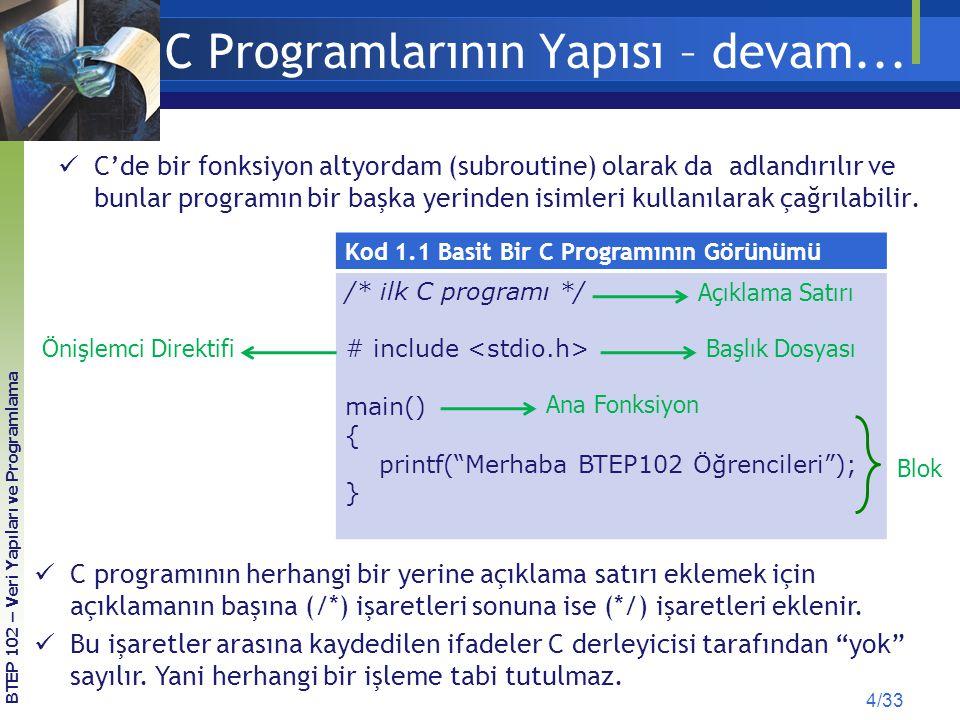 """C Programlarının Yapısı – devam... Kod 1.1 Basit Bir C Programının Görünümü /* ilk C programı */ # include main() { printf(""""Merhaba BTEP102 Öğrenciler"""