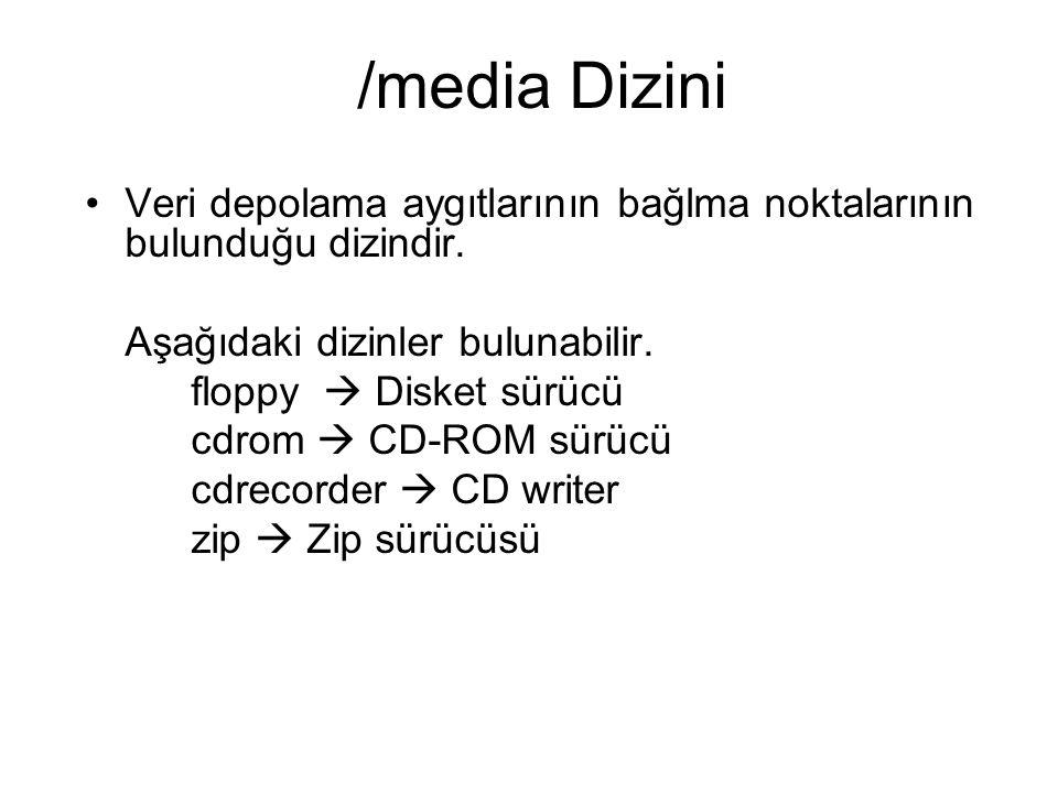 /media Dizini Veri depolama aygıtlarının bağlma noktalarının bulunduğu dizindir. Aşağıdaki dizinler bulunabilir. floppy  Disket sürücü cdrom  CD-ROM
