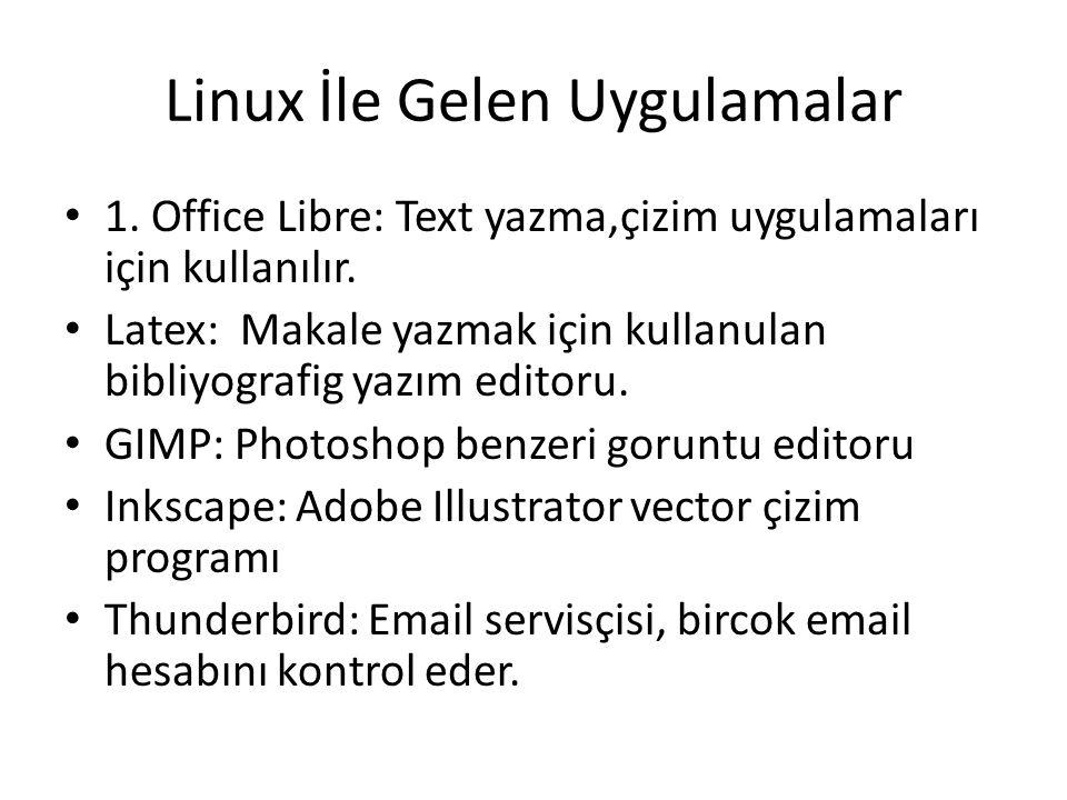 Linux İle Gelen Uygulamalar 1. Office Libre: Text yazma,çizim uygulamaları için kullanılır. Latex: Makale yazmak için kullanulan bibliyografig yazım e