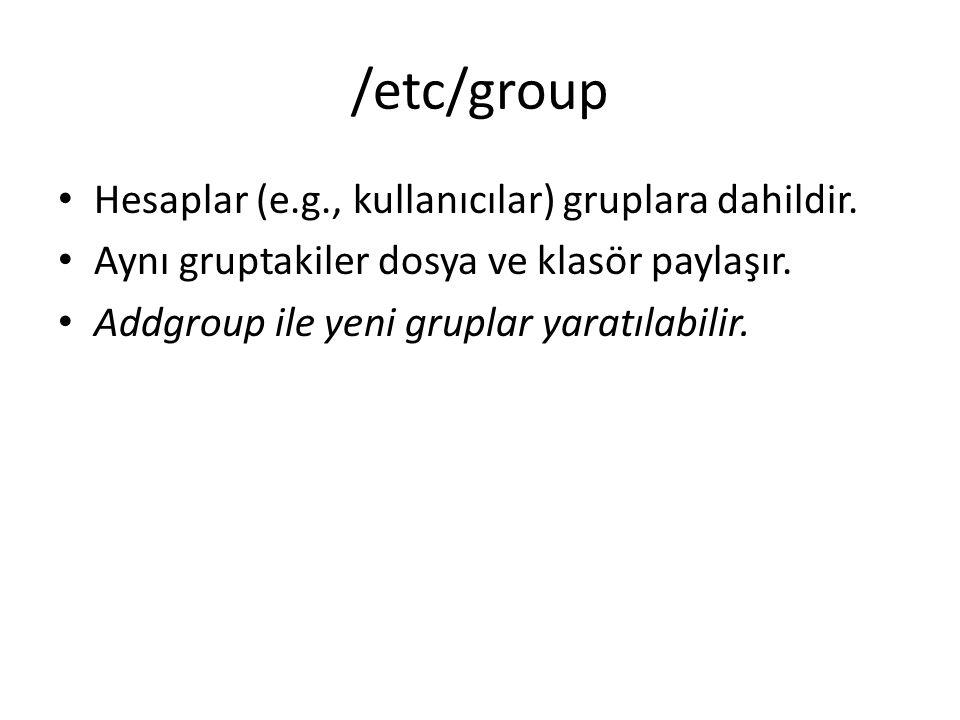 /etc/group Hesaplar (e.g., kullanıcılar) gruplara dahildir. Aynı gruptakiler dosya ve klasör paylaşır. Addgroup ile yeni gruplar yaratılabilir.