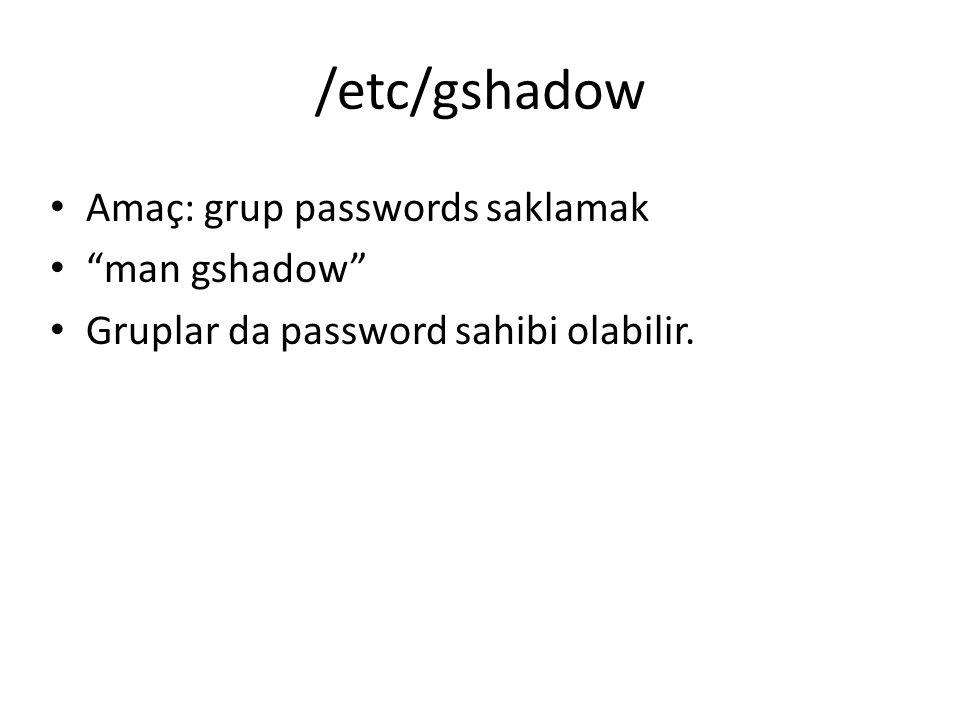 """/etc/gshadow Amaç: grup passwords saklamak """"man gshadow"""" Gruplar da password sahibi olabilir."""