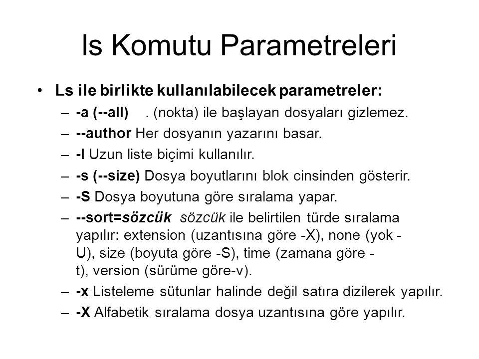 ls Komutu Parametreleri Ls ile birlikte kullanılabilecek parametreler: –-a (--all). (nokta) ile başlayan dosyaları gizlemez. –--author Her dosyanın ya