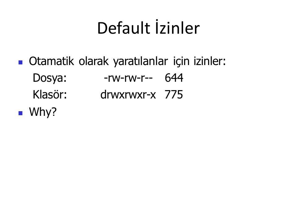 Default İzinler Otamatik olarak yaratılanlar için izinler: Dosya: -rw-rw-r-- 644 Klasör: drwxrwxr-x 775 Why?
