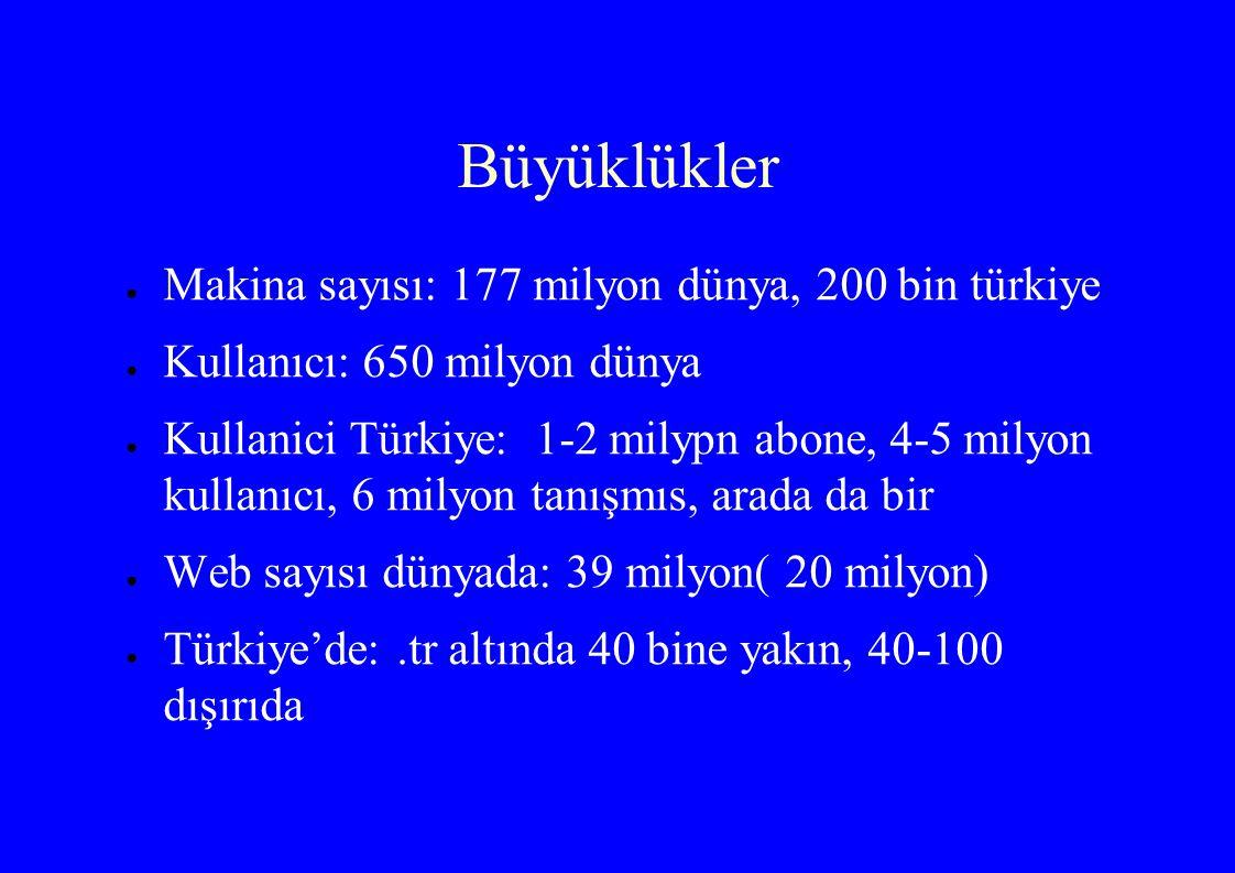 Büyüklükler ● Makina sayısı: 177 milyon dünya, 200 bin türkiye ● Kullanıcı: 650 milyon dünya ● Kullanici Türkiye: 1-2 milypn abone, 4-5 milyon kullanıcı, 6 milyon tanışmıs, arada da bir ● Web sayısı dünyada: 39 milyon( 20 milyon) ● Türkiye'de:.tr altında 40 bine yakın, 40-100 dışırıda
