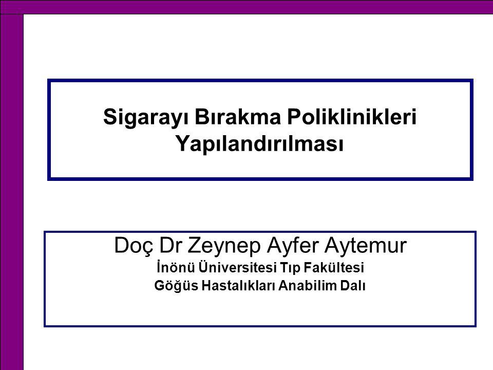 Sigarayı Bırakma Poliklinikleri Yapılandırılması Doç Dr Zeynep Ayfer Aytemur İnönü Üniversitesi Tıp Fakültesi Göğüs Hastalıkları Anabilim Dalı
