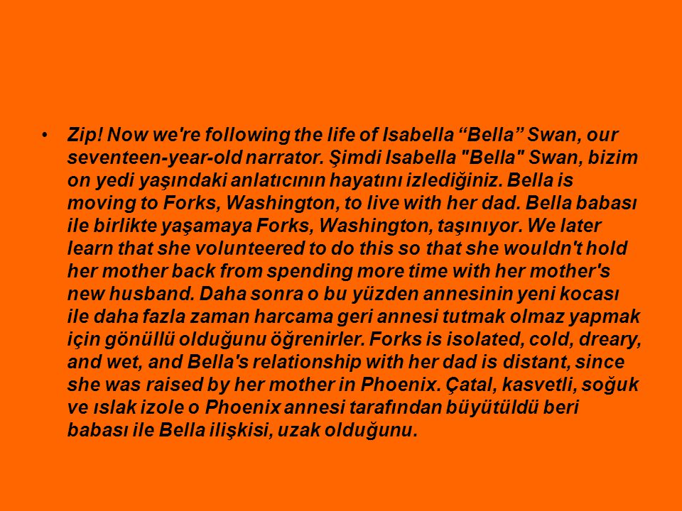 Zip. Now we re following the life of Isabella Bella Swan, our seventeen-year-old narrator.