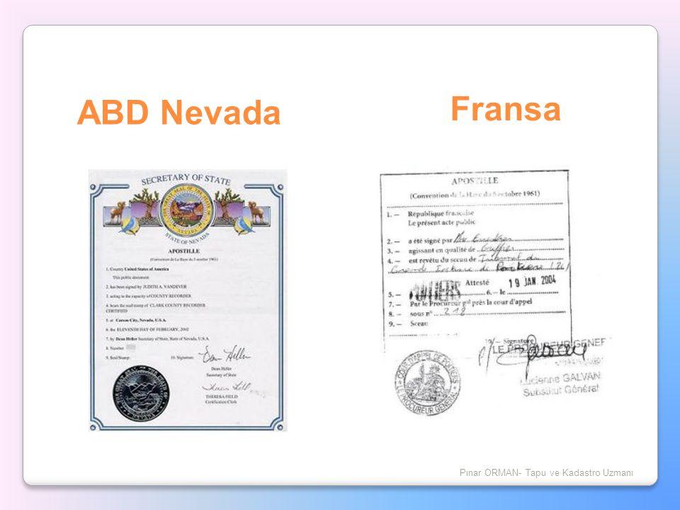 ABD Nevada Pınar ORMAN- Tapu ve Kadastro Uzmanı Fransa