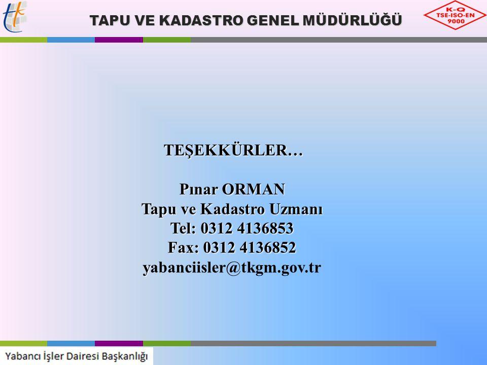 TAPU VE KADASTRO GENEL MÜDÜRLÜĞÜ TEŞEKKÜRLER… TEŞEKKÜRLER… Pınar ORMAN Tapu ve Kadastro Uzmanı Tel: 0312 4136853 Fax: 0312 4136852 y yabanciisler@tkgm
