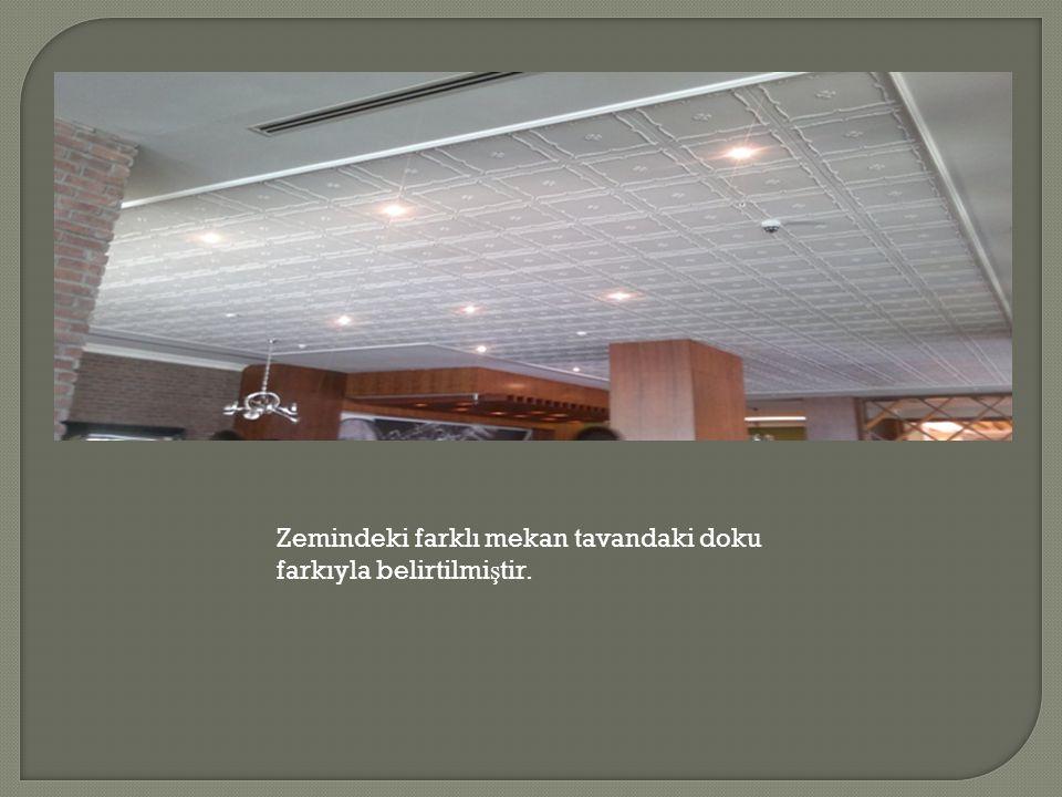 Zemindeki farklı mekan tavandaki doku farkıyla belirtilmi ş tir.