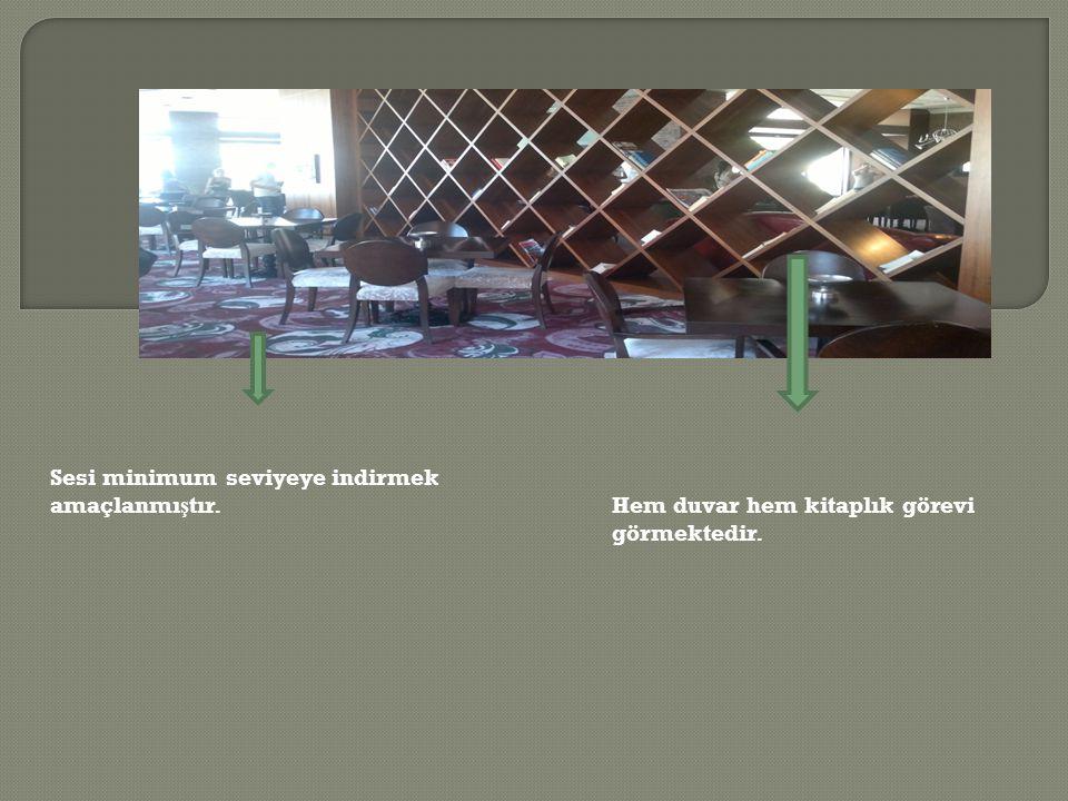 Hem duvar hem kitaplık görevi görmektedir. Sesi minimum seviyeye indirmek amaçlanmı ş tır.