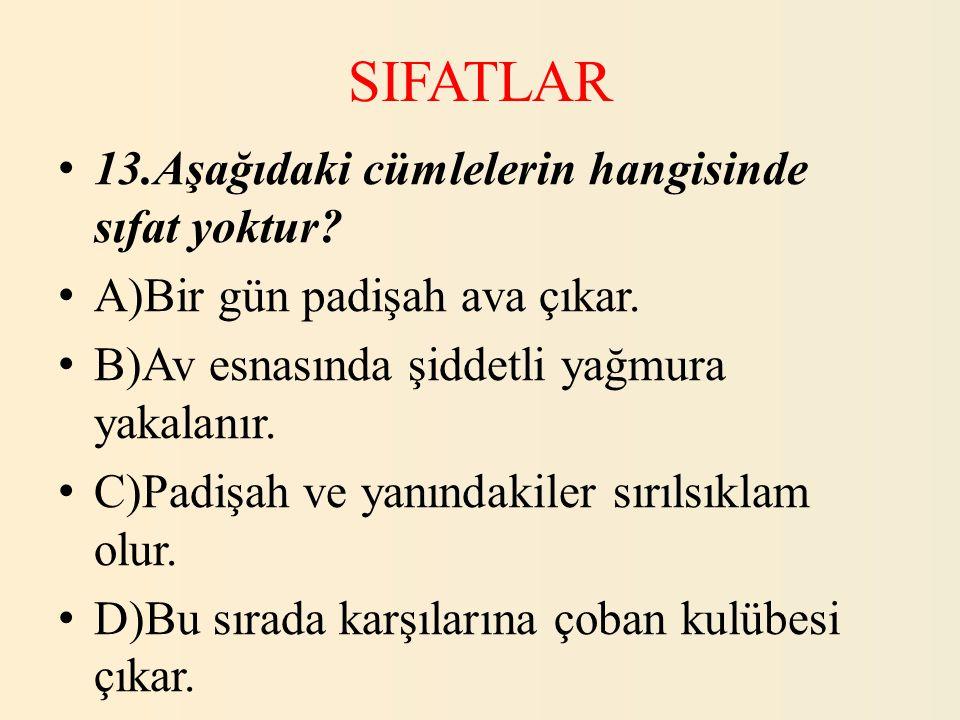SIFATLAR 13.Aşağıdaki cümlelerin hangisinde sıfat yoktur? A)Bir gün padişah ava çıkar. B)Av esnasında şiddetli yağmura yakalanır. C)Padişah ve yanında