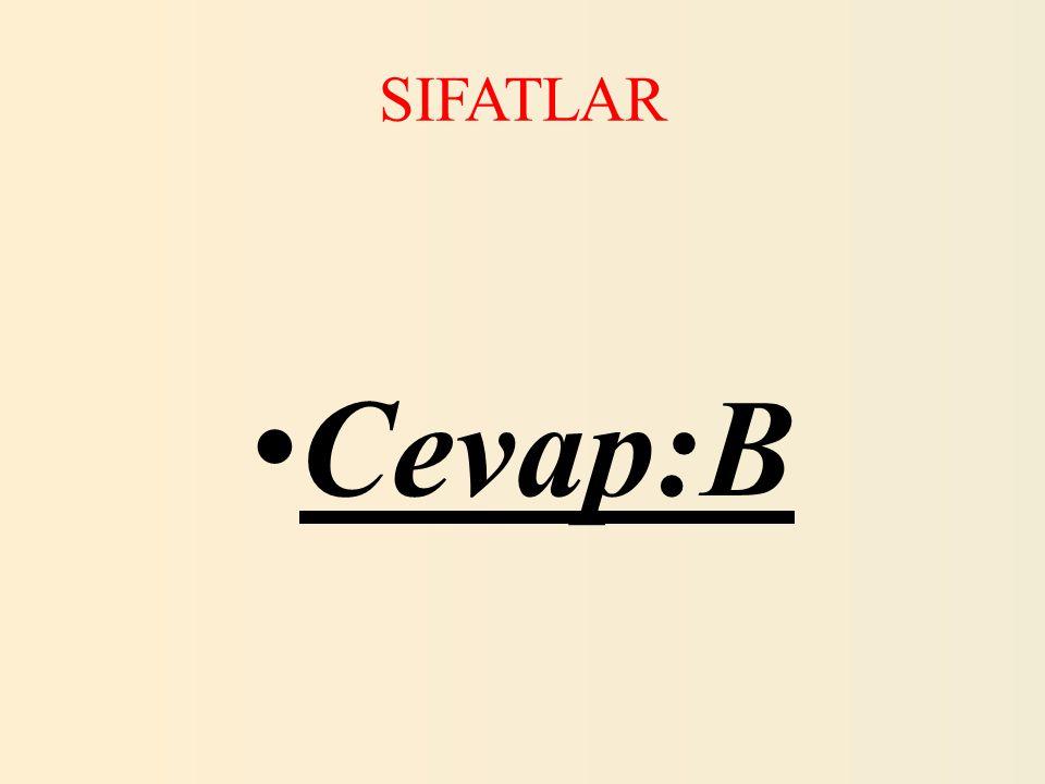 SIFATLAR 17.Aşağıdakilerden hangisinde sakin kelimesi farklı bir sözcük türündedir.