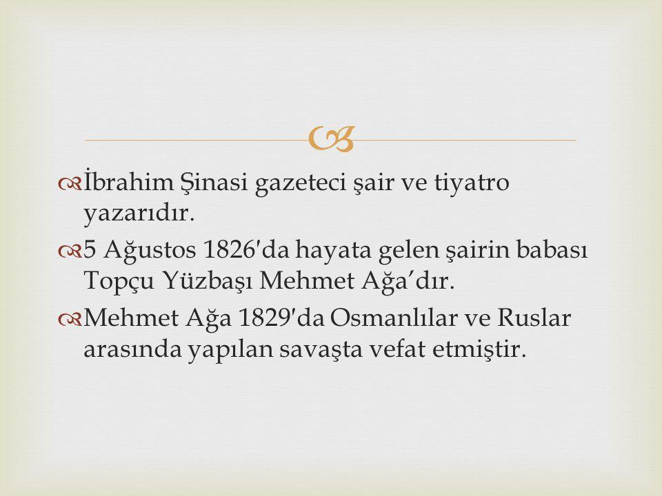   İbrahim Şinasi gazeteci şair ve tiyatro yazarıdır.
