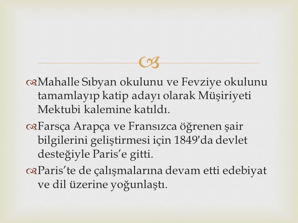   Mahalle Sıbyan okulunu ve Fevziye okulunu tamamlayıp katip adayı olarak Müşiriyeti Mektubi kalemine katıldı.