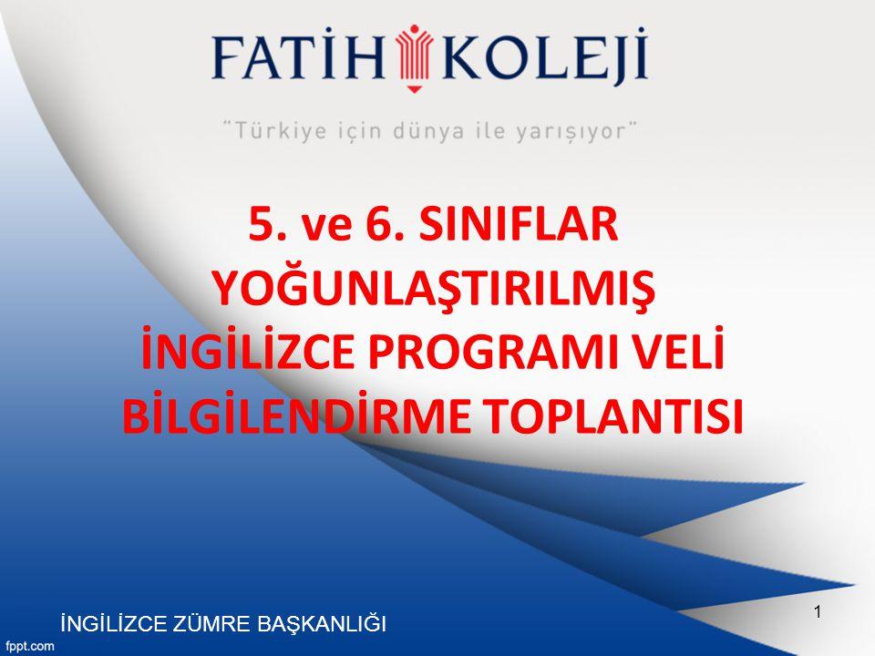 5. ve 6. SINIFLAR YOĞUNLAŞTIRILMIŞ İNGİLİZCE PROGRAMI VELİ BİLGİLENDİRME TOPLANTISI İNGİLİZCE ZÜMRE BAŞKANLIĞI 1