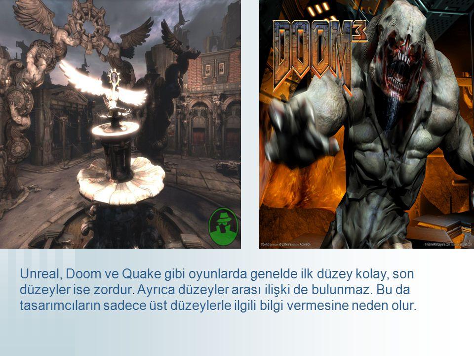 Unreal, Doom ve Quake gibi oyunlarda genelde ilk düzey kolay, son düzeyler ise zordur.
