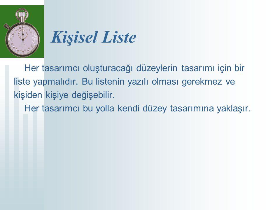 Kişisel Liste Her tasarımcı oluşturacağı düzeylerin tasarımı için bir liste yapmalıdır.