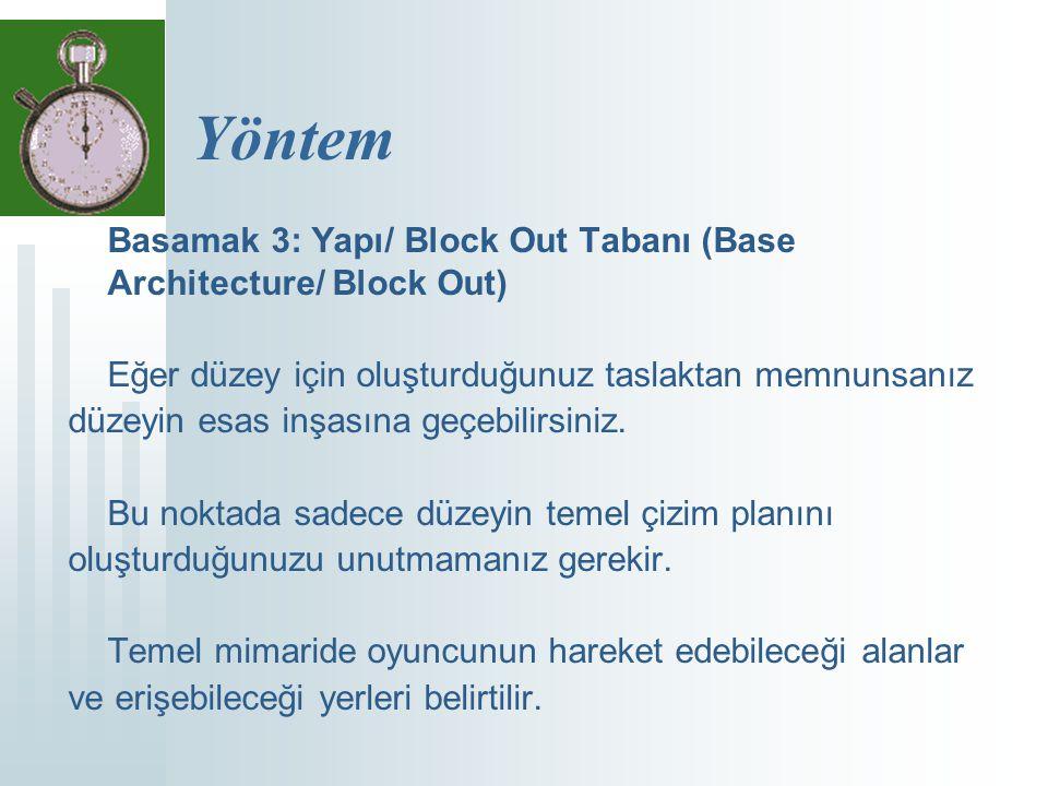 Yöntem Basamak 3: Yapı/ Block Out Tabanı (Base Architecture/ Block Out) Eğer düzey için oluşturduğunuz taslaktan memnunsanız düzeyin esas inşasına geçebilirsiniz.
