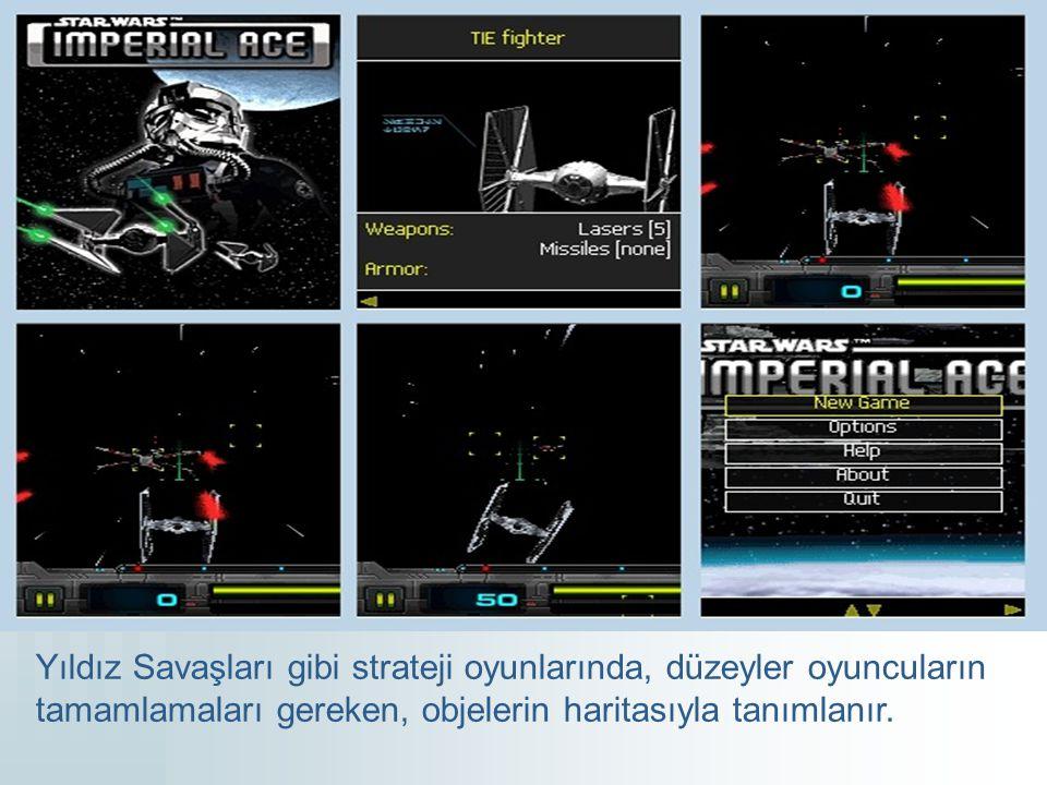 Yıldız Savaşları gibi strateji oyunlarında, düzeyler oyuncuların tamamlamaları gereken, objelerin haritasıyla tanımlanır.