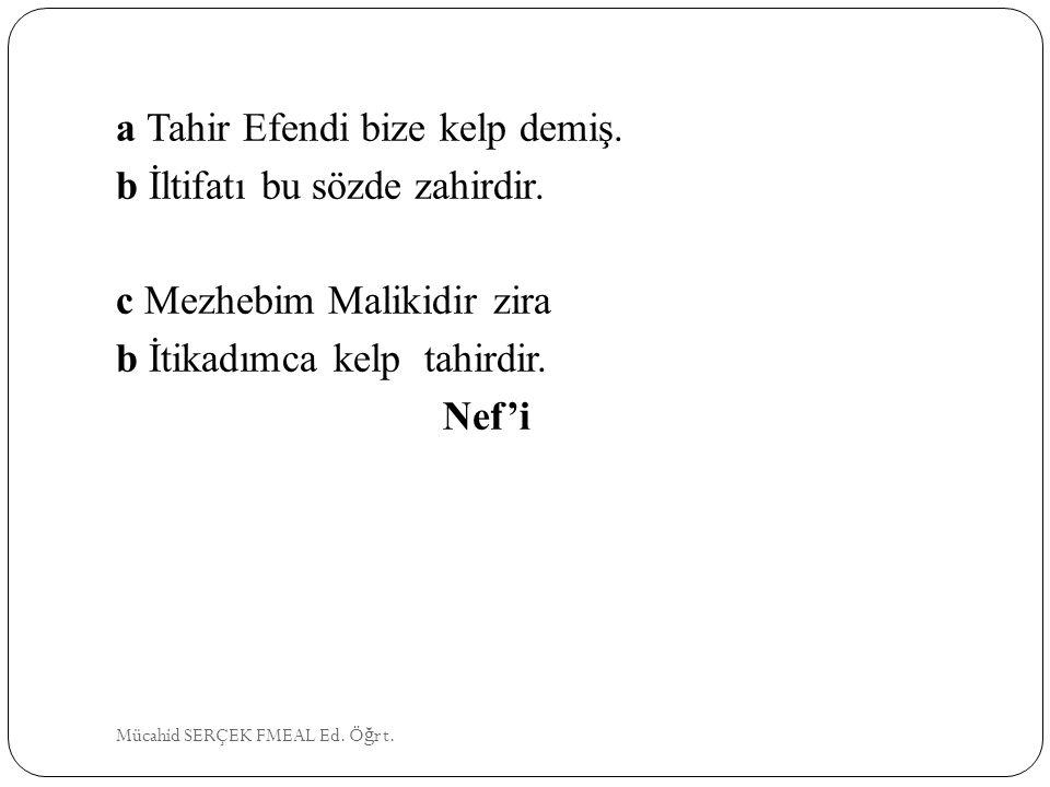 a Tahir Efendi bize kelp demiş. b İltifatı bu sözde zahirdir. c Mezhebim Malikidir zira b İtikadımca kelp tahirdir. Nef'i Mücahid SERÇEK FMEAL Ed. Ö ğ
