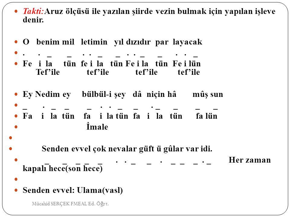 Vesiletü'n Necat (Mevlid): Süleyman Çelebi(15.yy) Harname: Şeyhi(15.yy) Hüsrev-ü Şirin: Şeyhi(15.yy) Leyla ve Mecnun: Fuzuli(16.yy) Beng ü Bade: Fuzuli(16.yy) Hayrabad: Nabi(17.yy) Hayriye: Nabi(17.yy) Mücahid SERÇEK FMEAL Ed.