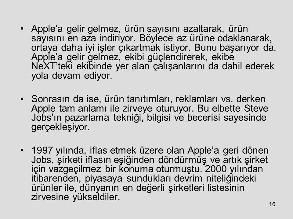 16 Apple'a gelir gelmez, ürün sayısını azaltarak, ürün sayısını en aza indiriyor.