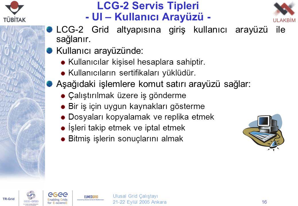Ulusal Grid Çalıştayı 21-22 Eylül 2005 Ankara16 LCG-2 Servis Tipleri - UI – Kullanıcı Arayüzü - LCG-2 Grid altyapısına giriş kullanıcı arayüzü ile sağlanır.