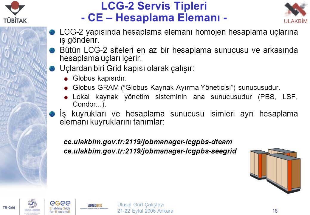 Ulusal Grid Çalıştayı 21-22 Eylül 2005 Ankara18 LCG-2 Servis Tipleri - CE – Hesaplama Elemanı - LCG-2 yapısında hesaplama elemanı homojen hesaplama uçlarına iş gönderir.