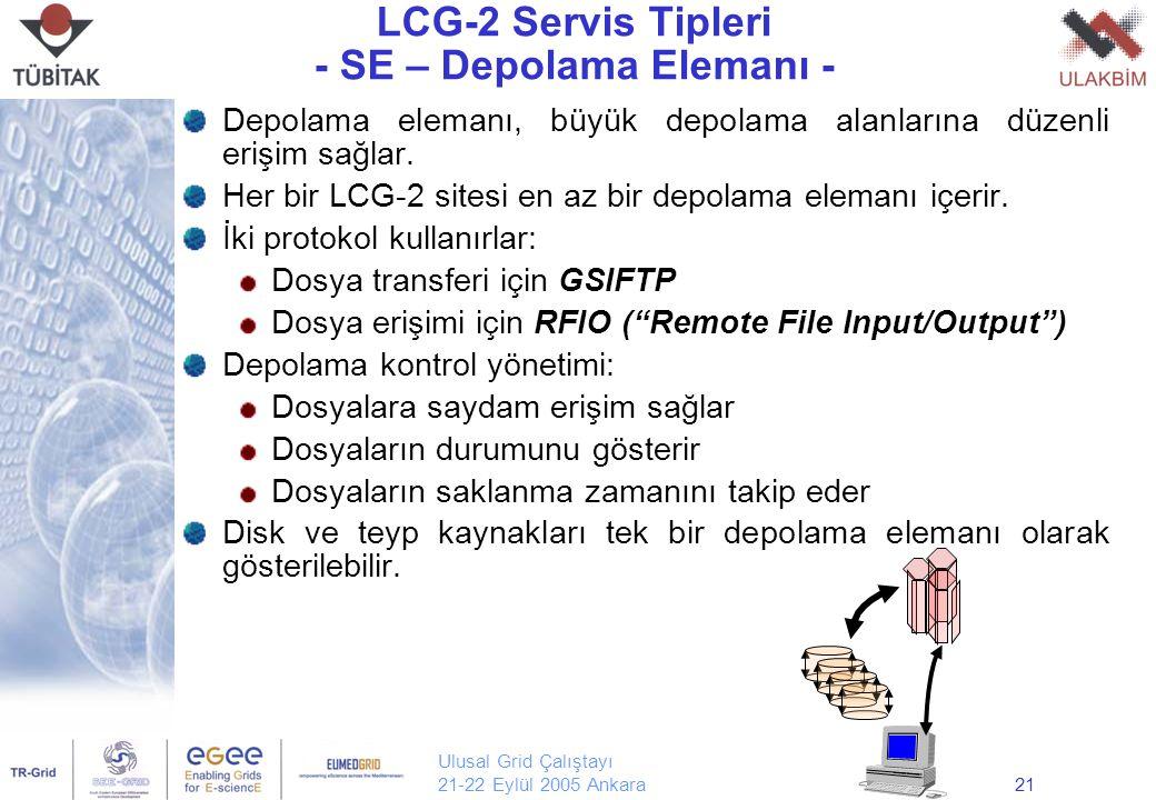 Ulusal Grid Çalıştayı 21-22 Eylül 2005 Ankara21 LCG-2 Servis Tipleri - SE – Depolama Elemanı - Depolama elemanı, büyük depolama alanlarına düzenli erişim sağlar.