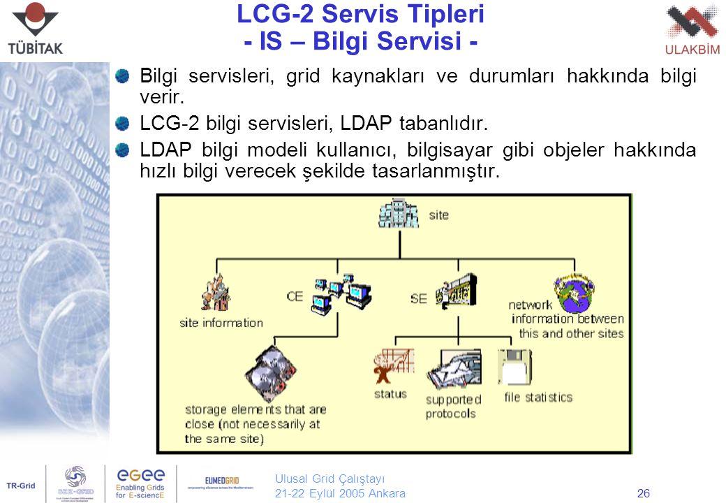 Ulusal Grid Çalıştayı 21-22 Eylül 2005 Ankara26 LCG-2 Servis Tipleri - IS – Bilgi Servisi - Bilgi servisleri, grid kaynakları ve durumları hakkında bilgi verir.