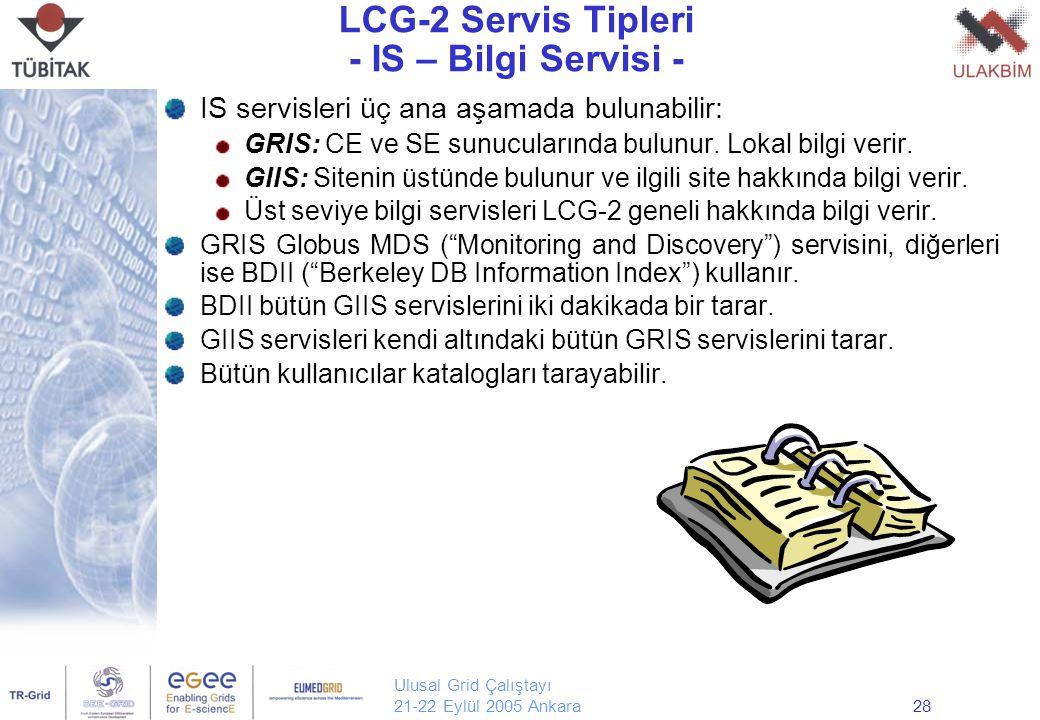 Ulusal Grid Çalıştayı 21-22 Eylül 2005 Ankara28 LCG-2 Servis Tipleri - IS – Bilgi Servisi - IS servisleri üç ana aşamada bulunabilir: GRIS: CE ve SE s
