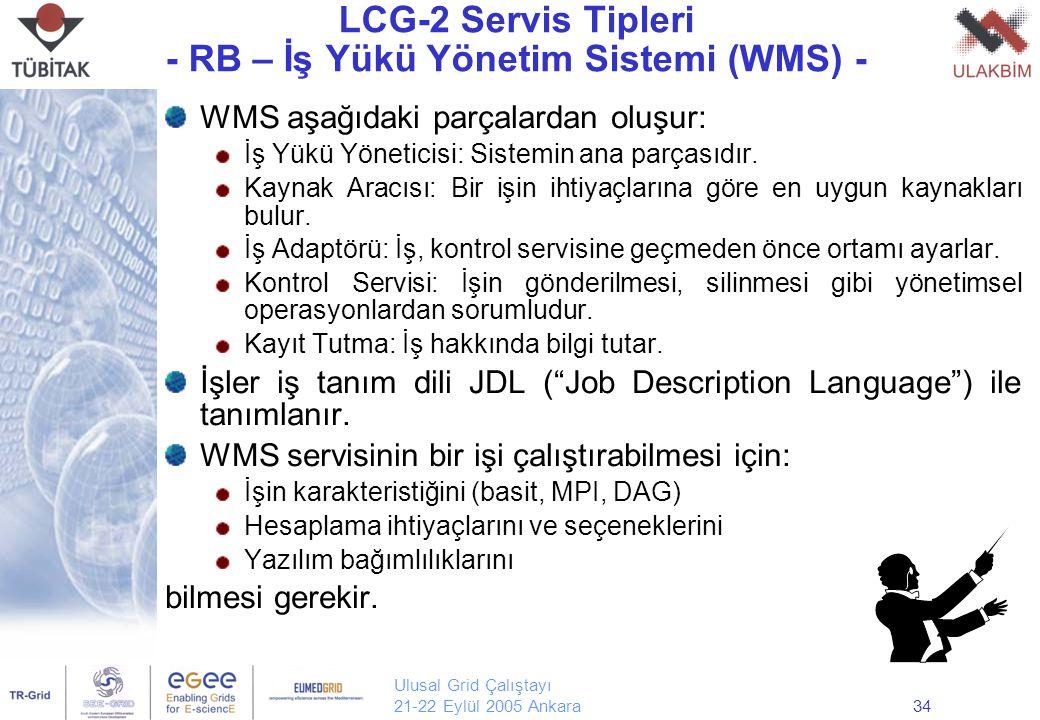 Ulusal Grid Çalıştayı 21-22 Eylül 2005 Ankara34 LCG-2 Servis Tipleri - RB – İş Yükü Yönetim Sistemi (WMS) - WMS aşağıdaki parçalardan oluşur: İş Yükü