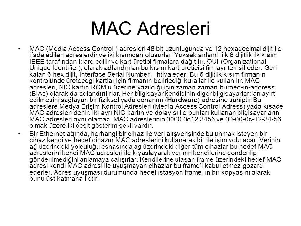 MAC Adresleri MAC (Media Access Control ) adresleri 48 bit uzunluğunda ve 12 hexadecimal dijit ile ifade edilen adreslerdir ve iki kısımdan oluşurlar.