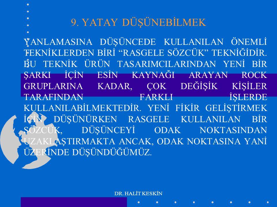 """DR. HALİT KESKİN 9. YATAY DÜŞÜNEBİLMEK YANLAMASINA DÜŞÜNCEDE KULLANILAN ÖNEMLİ TEKNİKLERDEN BİRİ """"RASGELE SÖZCÜK"""" TEKNİĞİDİR. BU TEKNİK ÜRÜN TASARIMCI"""
