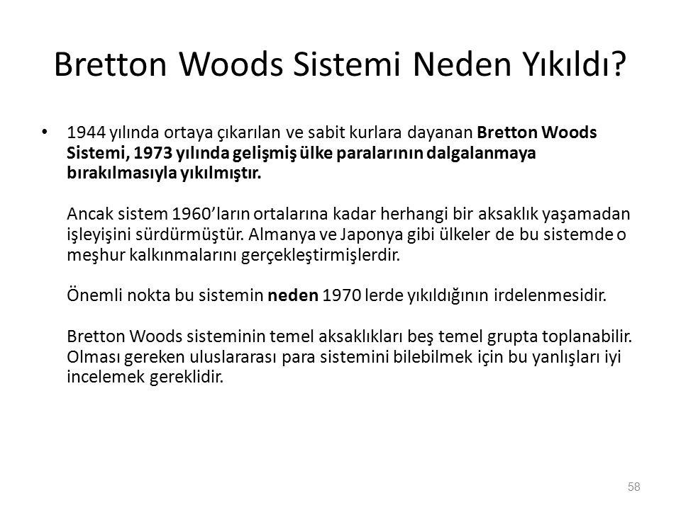Bretton Woods Sistemi Neden Yıkıldı? 1944 yılında ortaya çıkarılan ve sabit kurlara dayanan Bretton Woods Sistemi, 1973 yılında gelişmiş ülke paraları