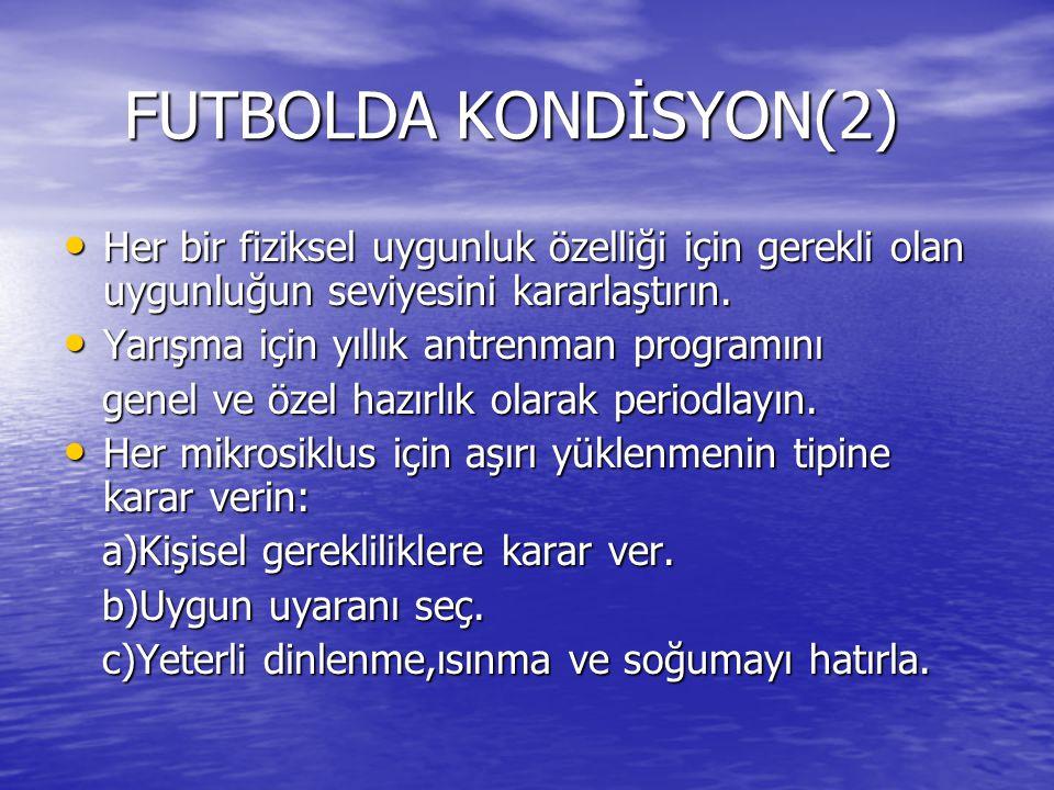 FUTBOLDA KONDİSYON(2) FUTBOLDA KONDİSYON(2) Her bir fiziksel uygunluk özelliği için gerekli olan uygunluğun seviyesini kararlaştırın.