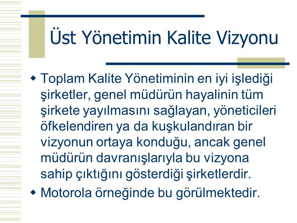 Üst Yönetimin Kalite Vizyonu  Toplam Kalite Yönetiminin en iyi işlediği şirketler, genel müdürün hayalinin tüm şirkete yayılmasını sağlayan, yönetici