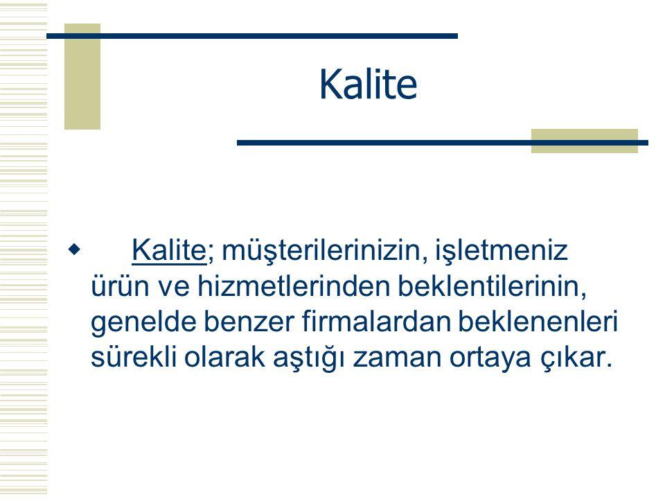 Kalite  Kalite; müşterilerinizin, işletmeniz ürün ve hizmetlerinden beklentilerinin, genelde benzer firmalardan beklenenleri sürekli olarak aştığı za
