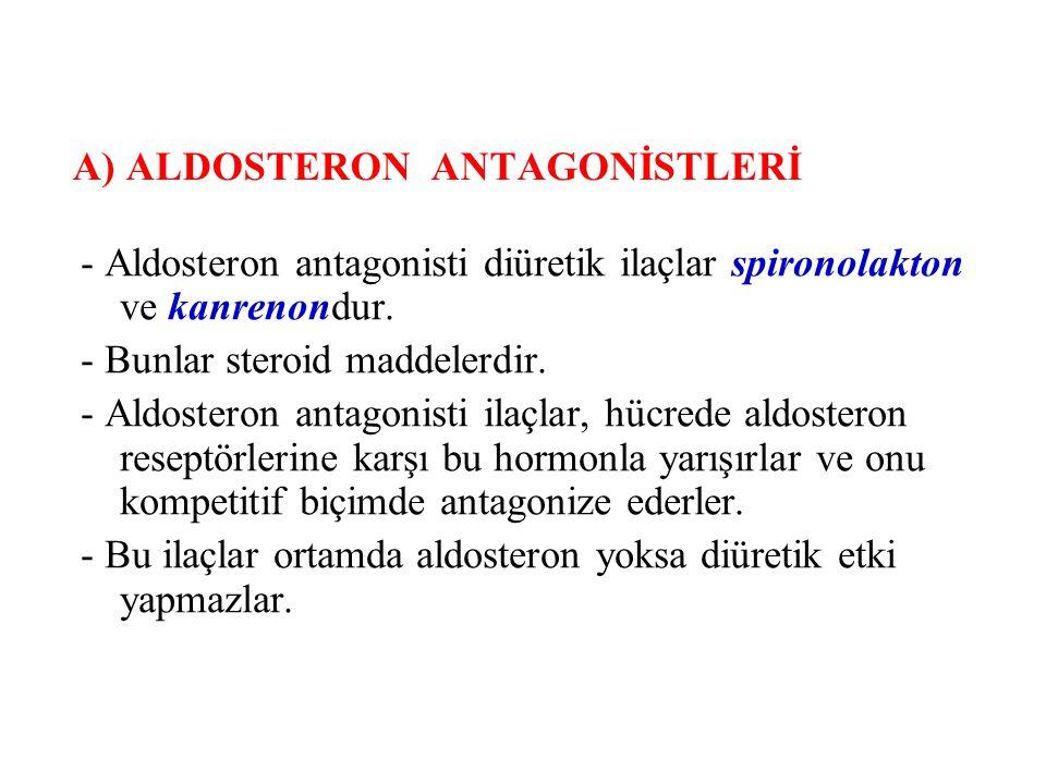 A) ALDOSTERON ANTAGONİSTLERİ - Aldosteron antagonisti diüretik ilaçlar spironolakton ve kanrenondur. - Bunlar steroid maddelerdir. - Aldosteron antago