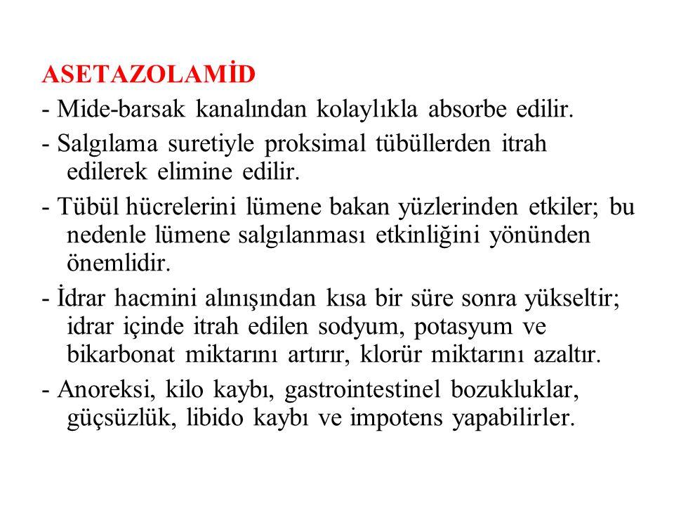 C) AMİLORİD - Etki kalıbı ve mekanizması triamtereninkine esas olarak benzer.
