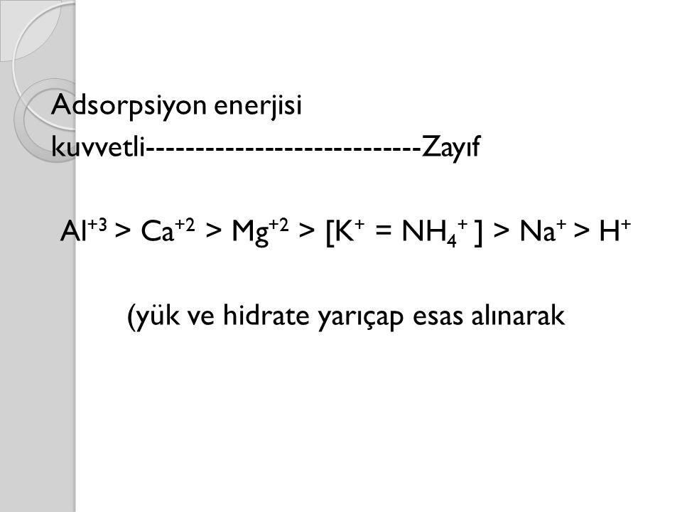 Adsorpsiyon enerjisi kuvvetli----------------------------Zayıf Al +3 > Ca +2 > Mg +2 > [K + = NH 4 + ] > Na + > H + (yük ve hidrate yarıçap esas alınarak